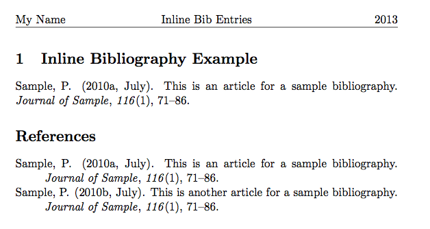 Inline apa bibliography entry in latex linguistics blog for Latex apa style template