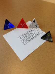 ESL activity using four sided dice